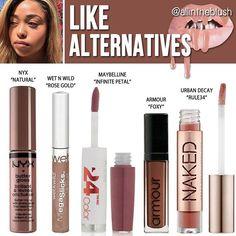 Kylie Jenner lip gloss dupes for Like Kylie Jenner Lipstick, Make Up Kylie Jenner, Kylie Lip Kit Dupe, Kylie Dupes, Jenner Makeup, Kylie Lipgloss, Kylie Makeup, Lipstick Dupes, Lipsticks