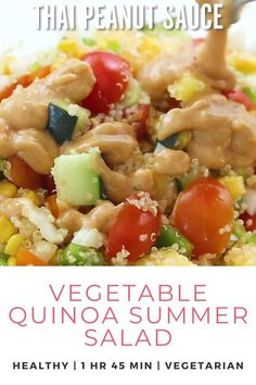 This Vegetable Quinoa Summer Salad recipe is vegan, but you can add feta or chicken, or even cranberries or avocado! Packed with fresh veggies, nutritious quinoa and filling chickpeas. Such a delicious and healthy lunch or dinner! Serve warm or cold with Thai peanut sauce. This Vegetable Quinoa Summer Salad is a hearty and healthy lunch idea or easy healthy dinner recipe! Try this recipe and more at Don't Waste the Crumbs. #quinoasalad #salad #healthyrecipe Chickpea Recipes, Vegetarian Recipes Easy, Lunch Recipes, Easy Dinner Recipes, Asian Recipes, Real Food Recipes, Cooking Recipes, Healthy Recipes, Meat Recipes