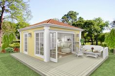 Pergola Attached To House Cute Little Houses, Cute House, Shed Design, Small House Design, Pavillion Design, Patio Roof Covers, Pergola Attached To House, Tiny House Cabin, Farmhouse Plans