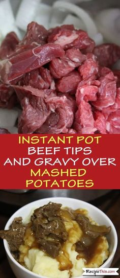 Instant Pot Beef Tips And Gravy Over Mashed Potatoes. This beef tips, mash and gravy recipe is one of my favourites and so easy to make in the Instant Pot Pressure Cooker. You could make it even cheaper by using a cheaper cut of beef too. Beef Tip Recipes, Potato Recipes, Slow Cooker Recipes, Crockpot Recipes, Healthy Recipes, Recipe Tips, Recipes For Pressure Cooker, Pressure Cooker Recipes Beef, Recipe Ideas