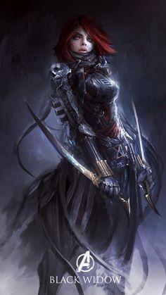 Bloodborne style Black Widow by Malaysian illustratorDaniel Kamarudin
