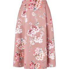 Miss Selfridge Pink Floral Print Midi Skirt ($64) ❤ liked on Polyvore featuring skirts, pink, women, mid calf skirts, pink midi skirt, red midi skirt, calf length skirts and midi skirt
