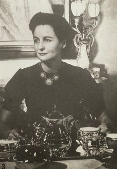 Nancy with her Mappin and Webb tea service 1940