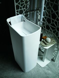 """LAB 03 _ """"Geometric and organic shapes combining fusing developing in harmony to engender soft and sensual forms of sinuous yet well-defined line."""" _ #washbasin designed for KOS by Ludovica+Roberto Palomba #bathroom #design _ @Zucchetti Kos"""