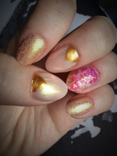 Moonbeam chrome nails, gold, stampers.
