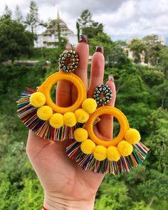 Thread Jewellery, Fabric Jewelry, Boho Jewelry, Jewelery, Jewelry Accessories, Handmade Beaded Jewelry, Handcrafted Jewelry, Earrings Handmade, Tassel Earing