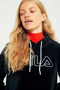 FILA Velour Logo Hoodie Dress   Urban Outfitters