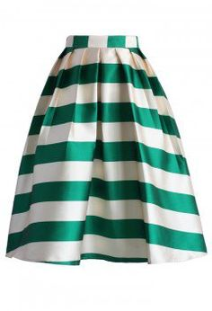 Scottish Green Striped Midi Skirt - CHICWISH SKIRT COLLECTION - Skirt - Bottoms - Retro, Indie and Unique Fashion
