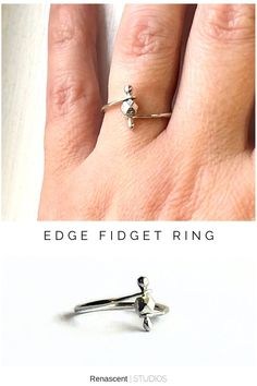 I didn't have time to make new items over the Christmas season so now I'm making up for lost time with some new fidget jewelry creations 😊 This is the first one listed - Edge Fidget Ring - providing a way to manage anxiety and stress, stylishly and discreetly. Click the pic to check it out 😍 #fidgetrings #stressrelief #anxietyrelief #everydayrings #renascentstudios #anxietyjewelry #fidgetjewelry #mindfulness #minimaljewelry #meditationjewelry #anxiety #giftideasforher #handmadejewelry Layered Jewelry, Trendy Jewelry, Handmade Jewelry, Women Jewelry, Unique Jewelry, Birthstone Jewelry, Gemstone Jewelry, Everyday Rings, Minimal Jewelry