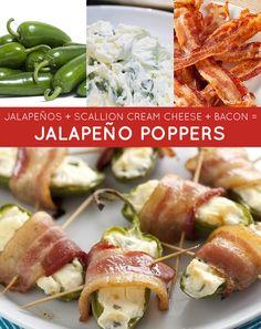 jalapeños + scallion cream cheese + bacon = jalapeño poppers | 33 Genius Three-Ingredient Recipes