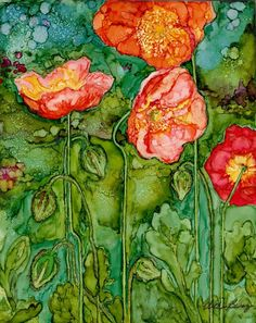 ice-poppies-i-jpg by Vicki Baun Barry using alcohol inks on Yupo
