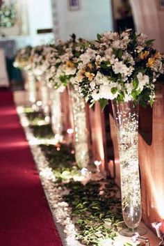 45 Breathtaking Church Wedding Decorations- 45 Breathtaking Church Wedding Decorations I like the idea of fairy lights being used somehow – maybe the reception centerpieces. Prettier after dark - Church Wedding Decorations Aisle, Wedding Church Aisle, Wedding Centerpieces, Wedding Bouquets, Wedding Flowers, Church Weddings, Church Wedding Decorations Rustic, Tall Centerpiece, Flower Centerpieces