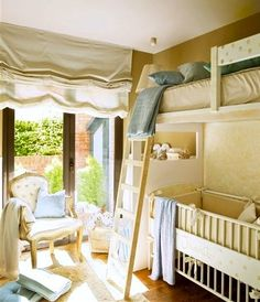 shared room with loft bed and crib under the bed