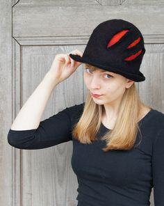 Unique felted hat fancy black bowler hat with red by filcAlki