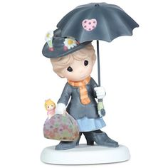 Disney ''You're Practically Perfect in Every Way'' Mary Poppins Figurine by Precious Moments, crafted in porcelain, the magical nanny is featured with her famous carpetbag and umbrella with its distinctive parrot handle. Disney Precious Moments, Precious Moments Quotes, Precious Moments Figurines, Disney Figurines, Collectible Figurines, Biscuit, Disney Shows, Disney Merchandise, Mary Poppins