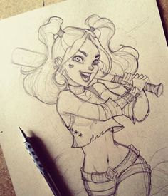 Awesome Harley Quinn drawing!! 1000TH PIN!!! XD