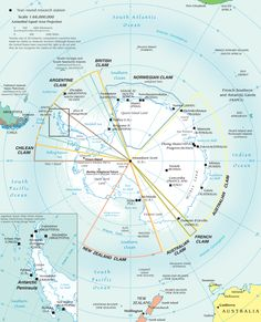 Research stations and territorial claims in Antarctica, 2002.