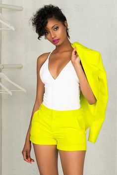 Neon Yellow Suit Shorts