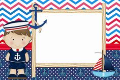 CONVITES ANIVERSÁRIO PARA IMPRIMIR - Convites Digitais Simples Nautical Photo Booth, Nautical Party, Nautical Birthday Invitations, Party Favors For Kids Birthday, Birthday Hampers, Sailor Theme, Barbie Theme, Leo Birthday, Baby Shower Decorations For Boys