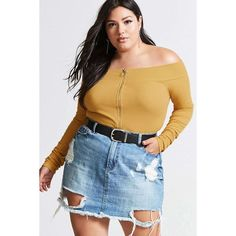 Forever21 Plus Size Ring Pull Crop Top ($15) ❤ liked on Polyvore featuring tops, mustard, long sleeve crop top, off shoulder long sleeve top, blue off the shoulder top, blue off shoulder top and crop top