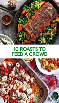 Feed a crowd with these delicious roast dinner recipes, including roast chicken, beef and veggie mains. Find more roast recipes at Tesco Real Food. Roast Chicken Dinner, Roast Dinner, Sunday Roast, Sunday Dinner For A Crowd, Sunday Dinners, Lamb Recipes, Roast Recipes, Tesco Real Food, Stuffed Whole Chicken