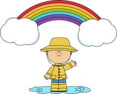 Little Boy and Rainbow Clip Art - Little Boy and Rainbow Image