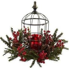 Here's a holiday decoration that is sure to light anyone's fire! This beautiful, elegant Pine Berry Birdhouse Candelabrum is easily one of the most striking pieces you can display. With a deep red candelabrum, Country Christmas, Christmas Home, Christmas Holidays, Christmas Wreaths, Lantern Christmas Decor, Christmas Hanging Baskets, Christmas Picks, Winter Holiday, Merry Christmas