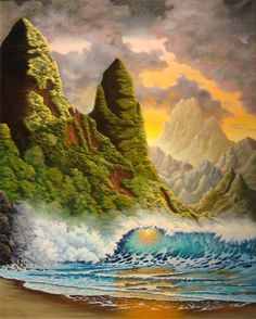 Fantasy Island by Ronald Souza ~ tropical beach pounding surf mountains