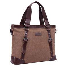 Color : Coral Cyan Brown MATCHANT Simple Retro Zip Canvas Briefcase Shoulder Bag Messenger Bag Color