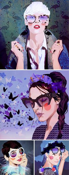Mamzelle Poppy's newest illustrations for @sunglasshut's campaign Sketches of Style.