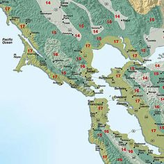 Sunset climate zones: San Francisco Bay Area and inland