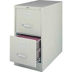 Ugly but cheaper than Costco - Staples® Vertical File Cabinet, 26-1/2in., 2-Drawer, Letter Size, Light Gray