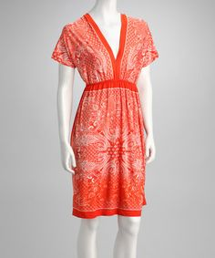 Take a look at this Orange Paisley Dolman Dress by Color Call: Maxis & Shoes on @zulily today!