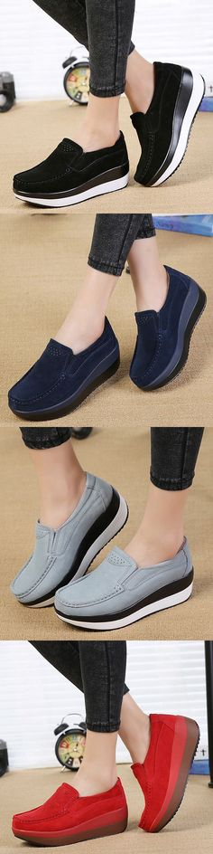US$29.86  Large Size Rocker Sole Suede Slip On Casual Shoes