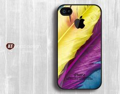 iphone 4 case iphone 4s case iphone 4 cover colorized feather  Iphone Logo design printing. $13.99, via Etsy.