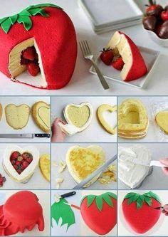 Gâteau piñata à la fraise