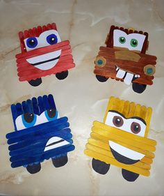 """""""Have we got any Disney's Cars fans? Popsicle Stick Crafts For Kids, Popsicle Crafts, Craft Stick Crafts, Craft Gifts, Popsicle Sticks, Craft Ideas, Projects For Kids, Diy For Kids, Diy Birthday Gifts For Mom"""