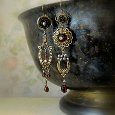 Etsy Transaction - Passionada (Garnet Version) - Winter Wedding - Flower Jewelry - Asymmetrical Earrings - Art Jewelry - Limited Edition
