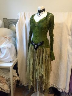 Elven green wedding dress or Green goddess dress, could be a boho wedding dress in the forest , handmade , elven goddess dress ..you will be able to make quite an entrance wearing this one of a kind piece..   It is feminine and airy but at the same time strong and a clear statement dress. Woodland , fairy, vintage , hippie inspired ,,  I couldnt stop myself when I started with this dress..time just vanished into this ,for me..special elven look dress..  The base fabric is a hand dyed vibrant…