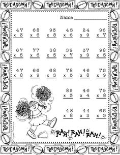 Thanksgiving Double Digit Multiplication With Regrouping, Multiplication Math Worksheets, Math Activities, Teaching Resources, Math Games, Math Stations, Math Centers, School Site, Thanksgiving Math, Math Graphic Organizers