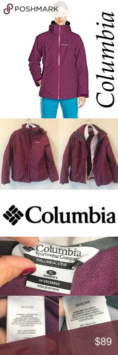 """Columbia Whirlibird Interchange Women's XL Jacket Gently used but a solid 9/10 Columbia Whirlibird Interchange Jacket XL Women's. Removable hood. Inside pocket, armpit zipper to allow breathing. Zippers work. Remove the lining and you'll have 2 jackets. Zipper pockets on side. Love this jacket. Color is a dark raspberry plum. There is part of the stitching that is coming undone on the back of the lining by the """"Interchange"""" tag and zipper has been rigged (see pic). Hard to notice. Model pics…"""