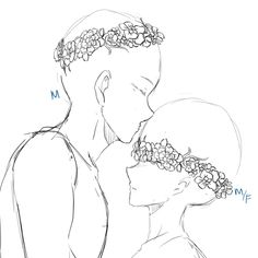 [ C L O S E D ] YCH Couple Flower Crown SET PRICE by ZaveKey
