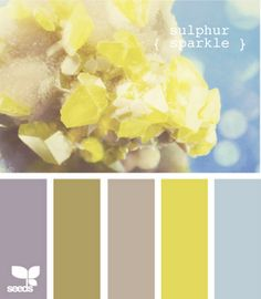 Possible kitchen color palette ~ maybe a darker grey and a brighter yellow will blend well with the living room Colour Pallette, Color Palate, Colour Schemes, Color Combos, Kitchen Color Palettes, Design Seeds, Colour Board, Mellow Yellow, Blue Yellow
