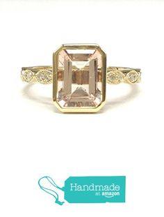 Emerald Cut Morganite Engagement Ring Pave Diamond Wedding 14K Yellow Gold 6x8mm Art Deco from the Lord of Gem Rings https://www.amazon.com/dp/B01GXGNDNK/ref=hnd_sw_r_pi_dp_o7dHxbGJ19JRB #handmadeatamazon