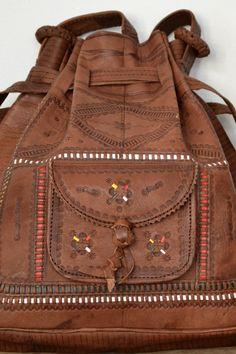 Leather Round boho handbag