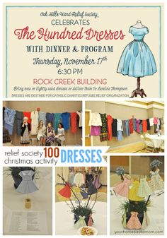 The One Hundred Dresses Relief Society Activity 100 Dresses Relief Society Christmas Activity - The story of The Hundred Dresses was the perfect way to kick off the holiday season for our Relief Society Activity. Enrichment Activities, Church Activities, Christmas Activities, Youth Activities, Christmas Games, Therapy Activities, Christmas Shopping, Christmas Ideas, Relief Society Christmas
