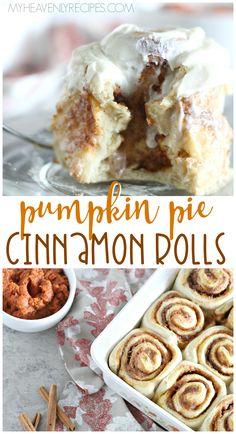 Pumpkin Pie Cinnamon Rolls Recipe Pumpkin Pie Cinnamon Rolls Recipe- best fall breakfast idea for family or kids. Pumpkin Pie Recipes, Fall Recipes, Pumpkin Pumpkin, Pumpkin Cinnamon Rolls, Cinnamon Pie, Gourmet Recipes, Dessert Recipes, Crockpot, Crock Pot