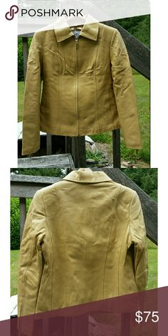 Lamb leather zip front blazer Perfect condition  No stain or rip  Like new  Rarely worn  Clean in and out  Wrinkle because I folded it but it's ok once you hang it Soft leather not stiff Lined Can be blazer or jacket  Not yellowish color but light taupe Zipper on both lower sleeves Pamela Mcoy Jackets & Coats Blazers