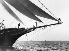 Bowsprit of a Ship | Ship Crewmen Standing on the Bowsprit, 1923