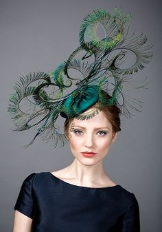 Rachel Trevor Morgan AW 2014 - Peacock silk pillbox with peacock feather curls - brim and dash Funky Hats, Crazy Hats, Cool Hats, Ascot Hats, Feather Hat, Feather Headpiece, Fascinator Hats, Fascinators, Kentucky Derby Hats
